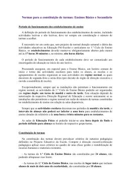 Normas para a constituição de turmas: Ensinos Básico e