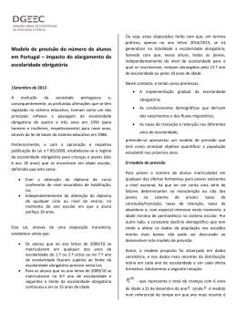 Modelo de previsão do número de alunos em Portugal – impacto do