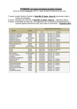 1º CICLO - em ordem cronológica de datas e horários