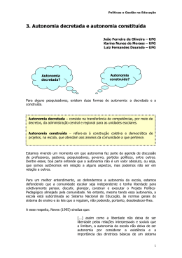 3. Autonomia decretada e autonomia constituída