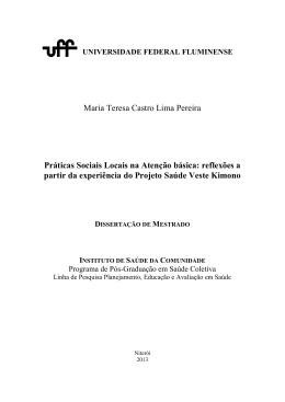 Maria Teresa Castro Lima Pereira Práticas Sociais Locais na