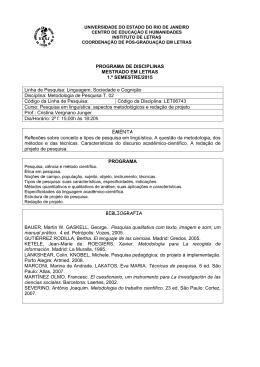 PROGRAMA DE DISCIPLINAS MESTRADO EM LETRAS 1.º