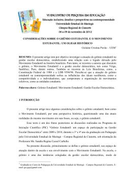 Considerações sobre o Grêmio Estudantil e o movimento estudantil