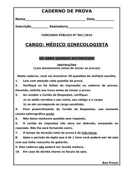 CADERNO DE PROVA CARGO: MÉDICO GINECOLOGISTA