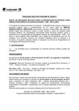 Edital - AME Rio Claro - Medico Ginecologista.Obstetra