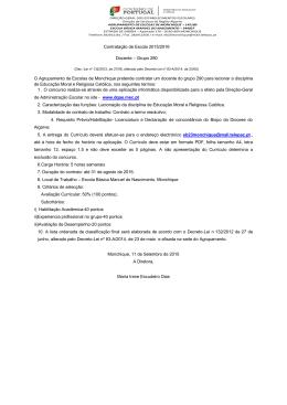 Contratação de Escola 2015/2016 Docente – Grupo 290 O