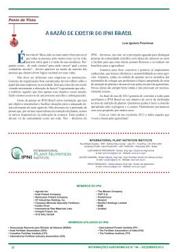a razão de existir do ipni brasil - International Plant Nutrition Institute