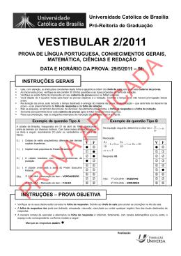 VESTIBULAR 2/2011 - Universidade Católica de Brasília