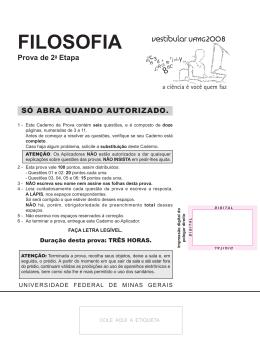 FILOSOFIA - Universidade Federal de Minas Gerais