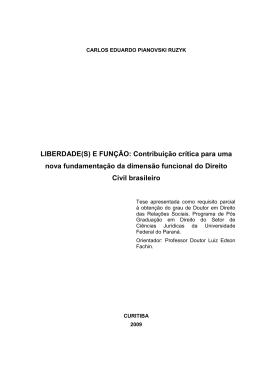LIBERDADE(S) E FUNÇÃO: Contribuição crítica