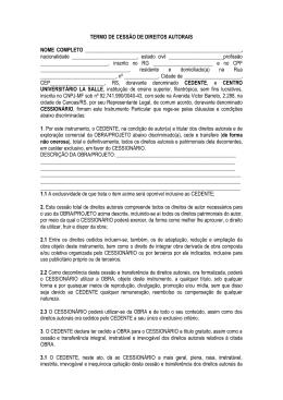 TERMO DE CESSÃO DE DIREITOS AUTORAIS NOME COMPLETO