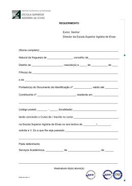 Minuta do requerimento para pedido de certificados e outros