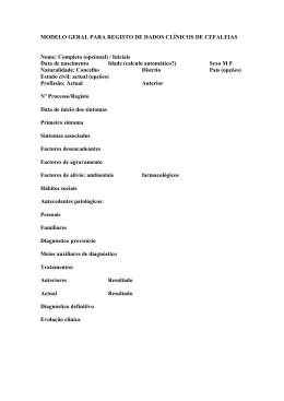 MODELO GERAL PARA REGISTO DE DADOS CLÍNICOS DE