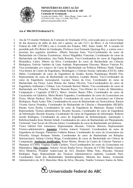 MINISTÉRIO DA EDUCAÇÃO Ata nº 006/2015/Ordinária/CG Ata da