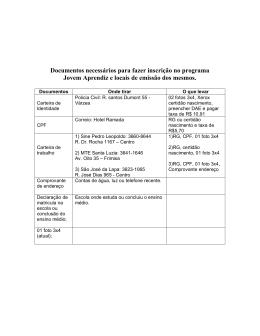 Documentos necessários para fazer inscrição no programa Jovem