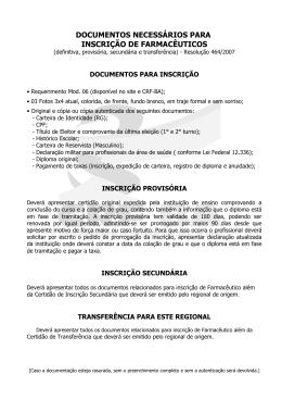 DOCUMENTOS NECESSÁRIOS PARA INSCRIÇÃO DE