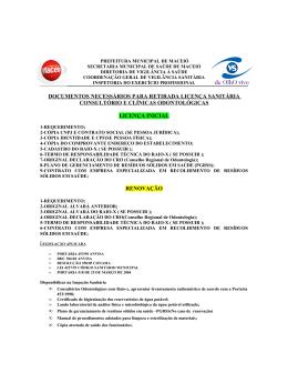 documentos necessários para retirada licença sanitária