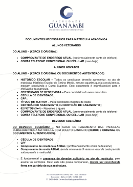 documentos necessarios para matricula academica