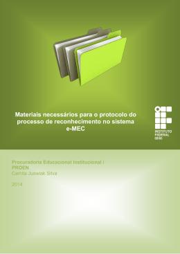 Materiais necessários para o protocolo do processo de