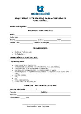 REQUISITOS NECESSÁRIOS PARA ADMISSÃO DE FUNCIONÁRIO