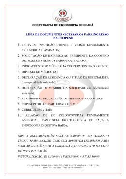 lista de documentos necessários para ingresso na coopend