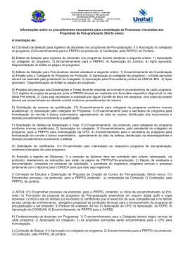 Informações sobre os procedimentos necessários para - Unifal-MG