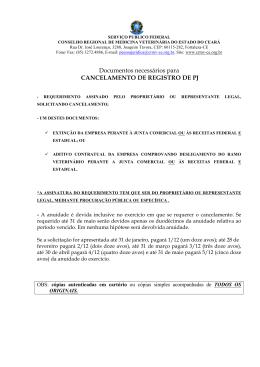 Documentos necessários para CANCELAMENTO DE - Crmv-ce