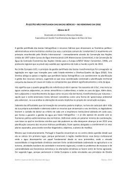 A GESTÃO NÃO PARTILHADA DAS BACIAS IBÉRICAS – NO