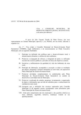 Cria o CONSELHO MUNICIPAL DE DESENVOLVIMENTO RURAL