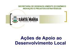 Apresentação Secretaria Municipal de Desenvolvimento