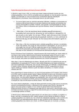 Índice Municipal de Desenvolvimento Humano (IDH-M) O