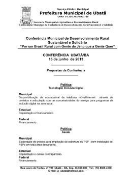 Propostas Conferência Municipal de Desenvolvimento Rural
