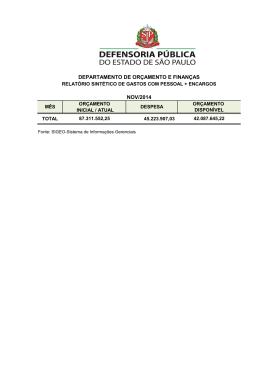 DEPARTAMENTO DE ORÇAMENTO E FINANÇAS NOV/2014