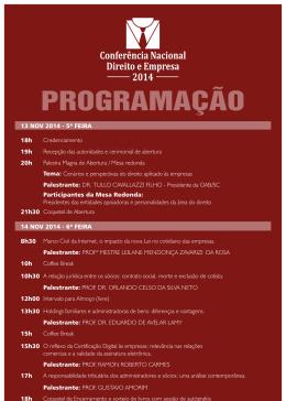 14 NOV 2014 - 6ª FEIRA 13 NOV 2014