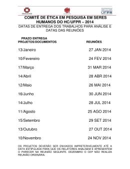Calendário de Reuniões CEP/HC 2014