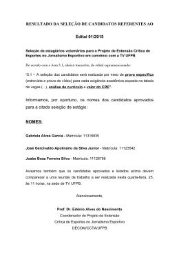 RESULTADO DA SELEÇÃO DE CANDIDATOS REFERENTES AO