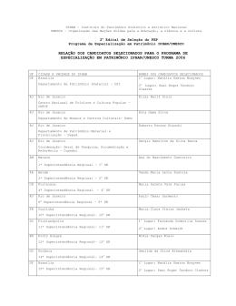 relação dos candidatos selecionados para o programa de