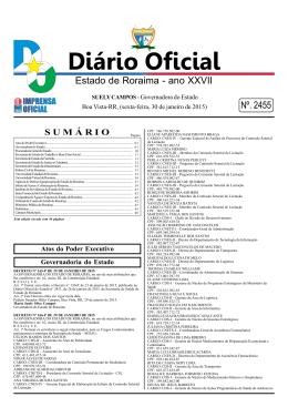 Diário Oficial Nº. 2455 - Imprensa Oficial do Estado de Roraima