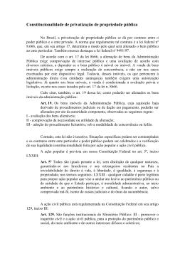Constitucionalidade de privatização de propriedade pública