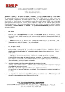 Edital - EMIP - Empresa Mineira de Parcerias SA