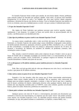 CARTILHA DOS JUIZADOS ESPECIAIS CÍVEIS Os Juizados