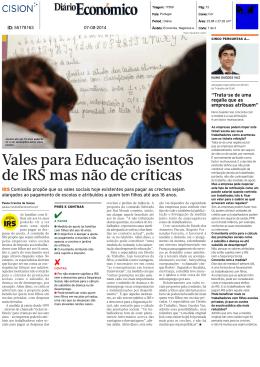 Vales para Educação isentos de IRS mas não de críticas