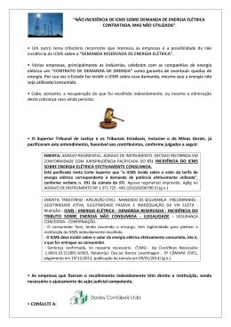 """""""NÃO INCIDÊNCIA DE ICMS SOBRE DEMANDA DE ENERGIA"""