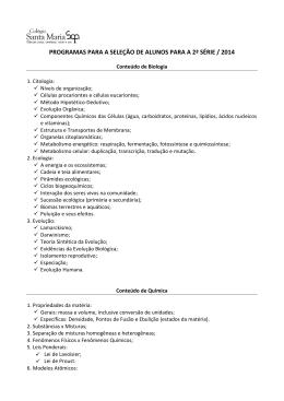 programas para a seleção de alunos para a 2ª série / 2014