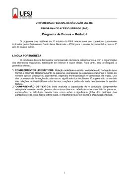 Programa de Provas – Módulo I
