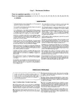 Cap 2 – Movimento Retilíneo Fazer as seguintes