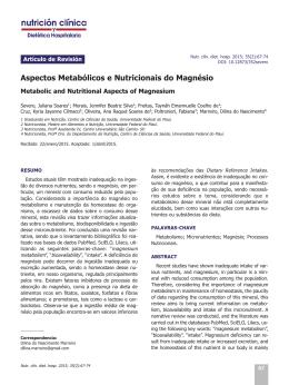 Aspectos Metabólicos e Nutricionais do Magnésio