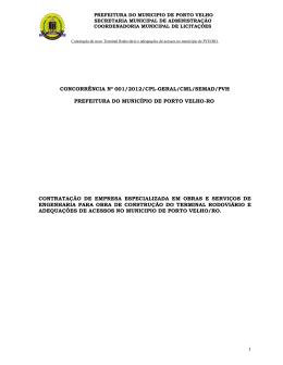 1 concorrência nº 001/2012/cpl-geral/cml/semad/pvh prefeitura do