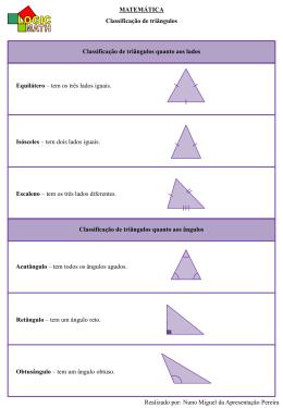 MATEMÁTICA Classificação de triângulos Realizado por: Nuno