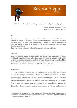 Infâncias e educação infantil: aspectos históricos, legais e